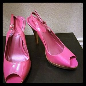Hot pink patent leather heels